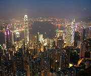 hong kong victoria peak at nightime